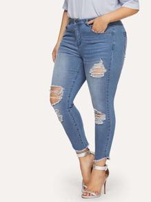 Bleach Wash Distressed Skinny Jeans