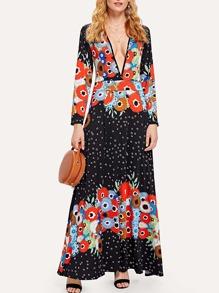 V Neckline Floral Print Maxi Dress