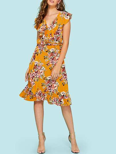 Floral Print Ruffle Hem Dress