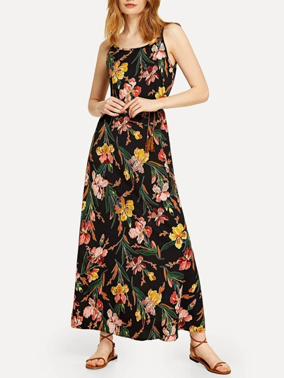 Floral Printed Belted Cami Dress