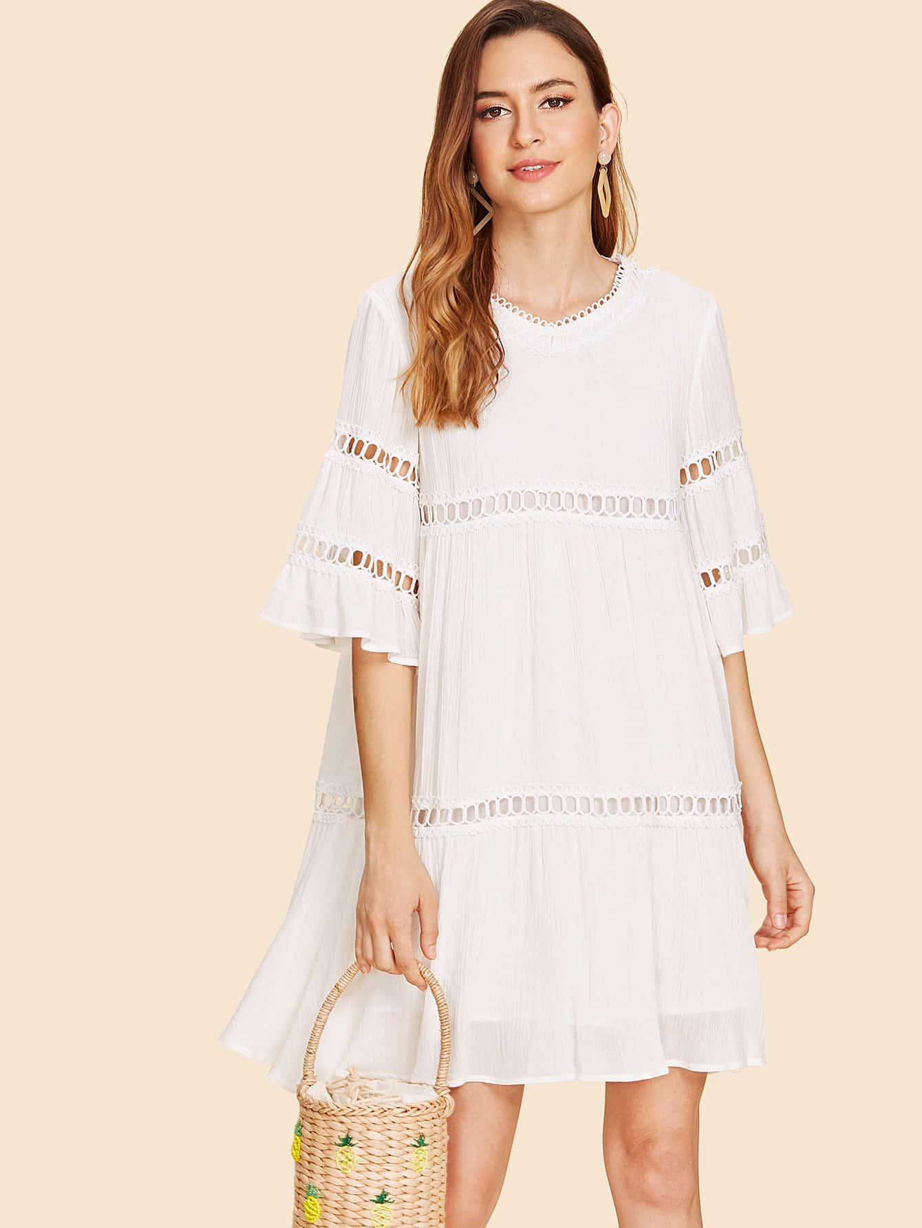 Bell Sleeve Circle Lace Detail Dress pearl detail layered bell sleeve ribbed top