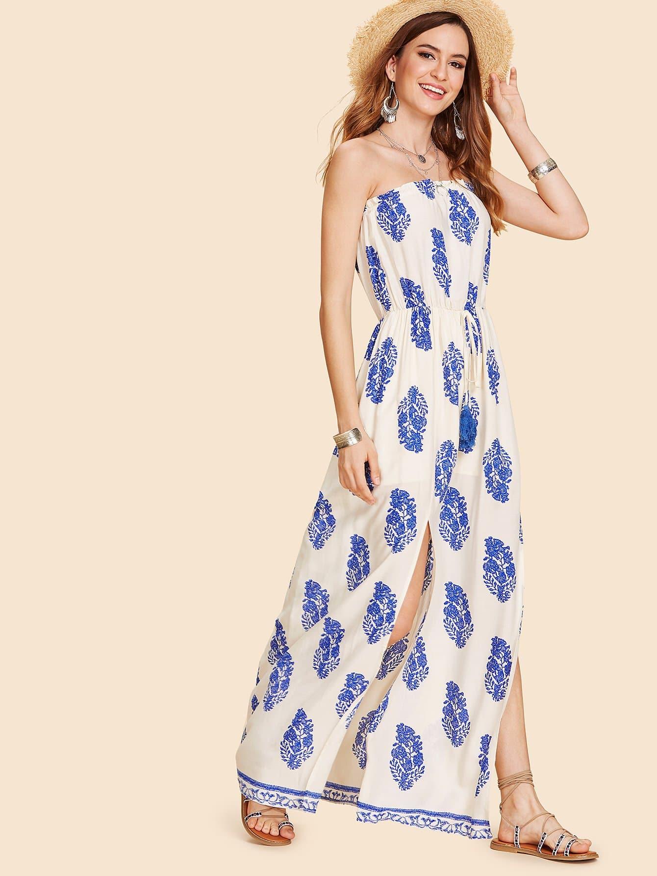 Drawstring Waist M-Slit Tube Dress drawstring waist m slit tube dress