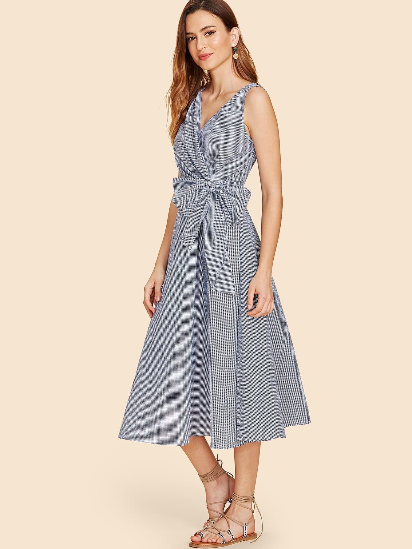 Bow Knot Waist Gingham Wrap Dress collared wrap front gingham tiered dress