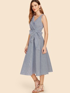 Bow Knot Waist Gingham Wrap Dress