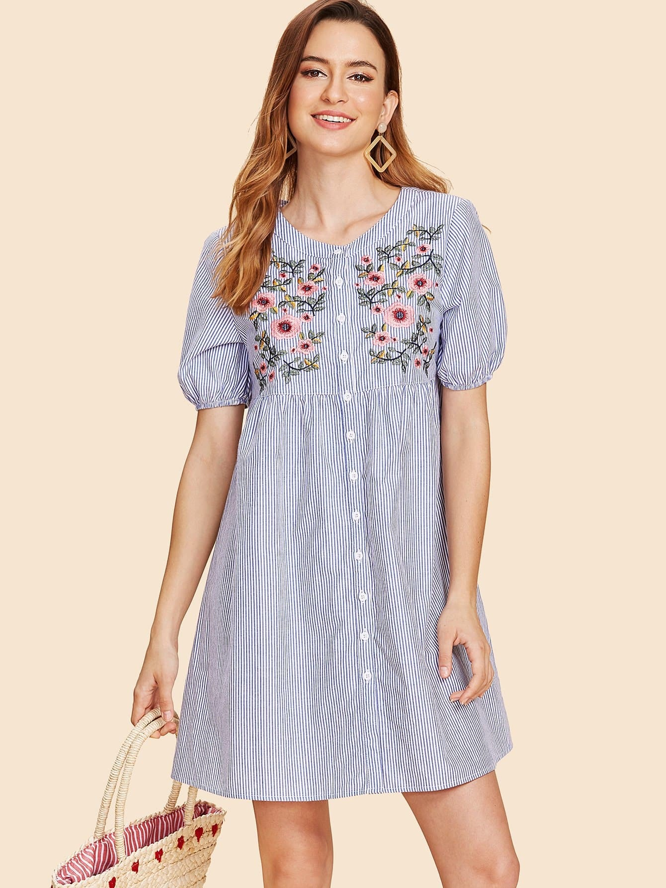 Button Up Flower Embroidered Striped Dress daisy embroidered striped night dress