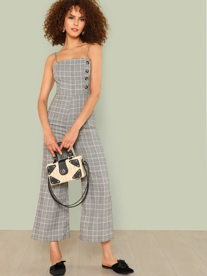 Wide Leg Gingham Cami Jumpsuit