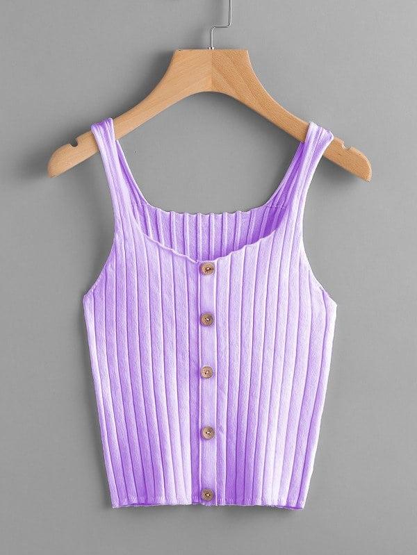 Button Front Rib Knit Top rib knit tights