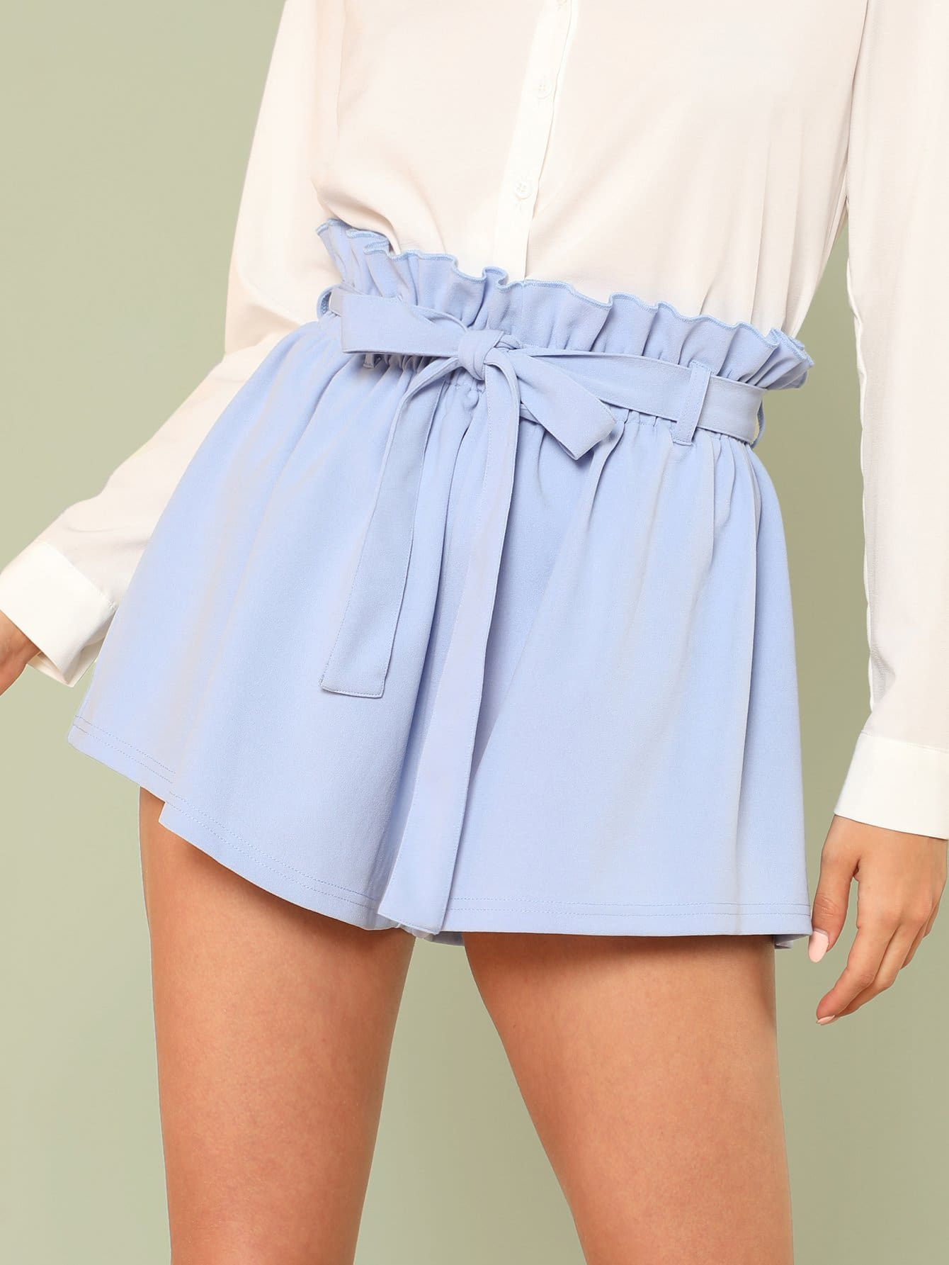 Ruffle Trim Self Tie Waist Shorts цена и фото