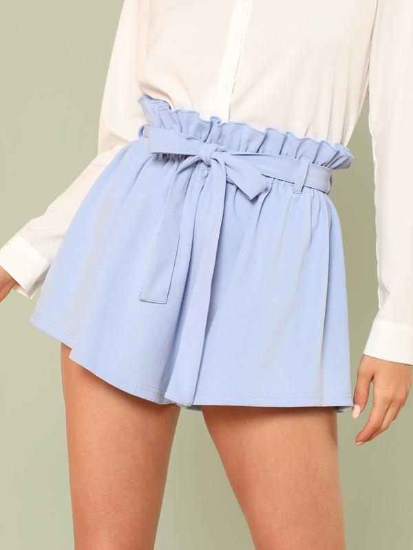 Ruffle Trim Self Tie Waist Shorts by Shein