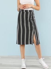 Button Slit Side Striped Skirt