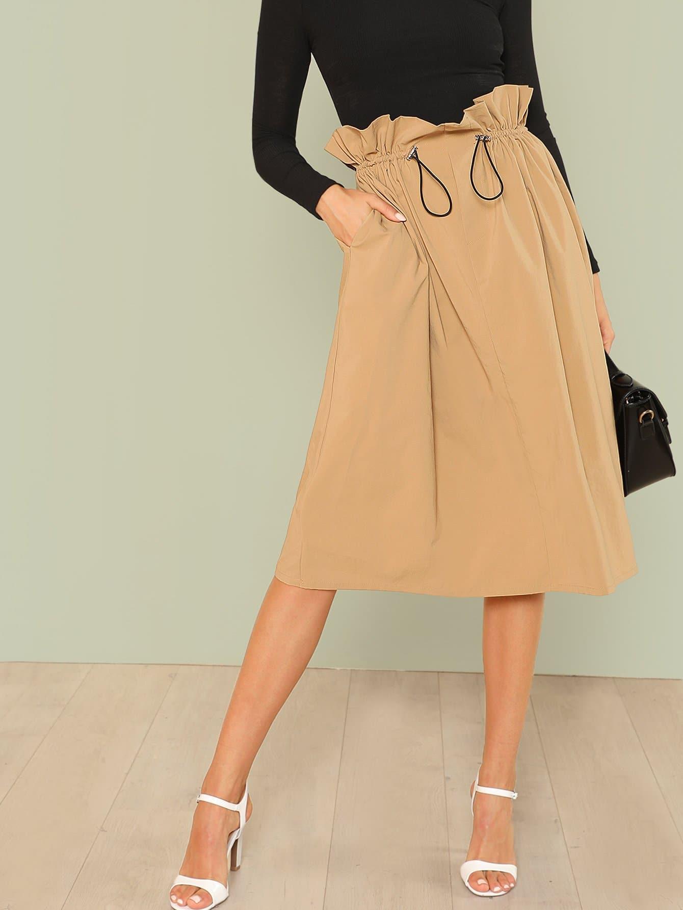 Ruffle Waist Drawstring Skirt plus size ruffle drawstring waist gaucho pants