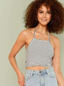 Striped Print Crop Halter Top