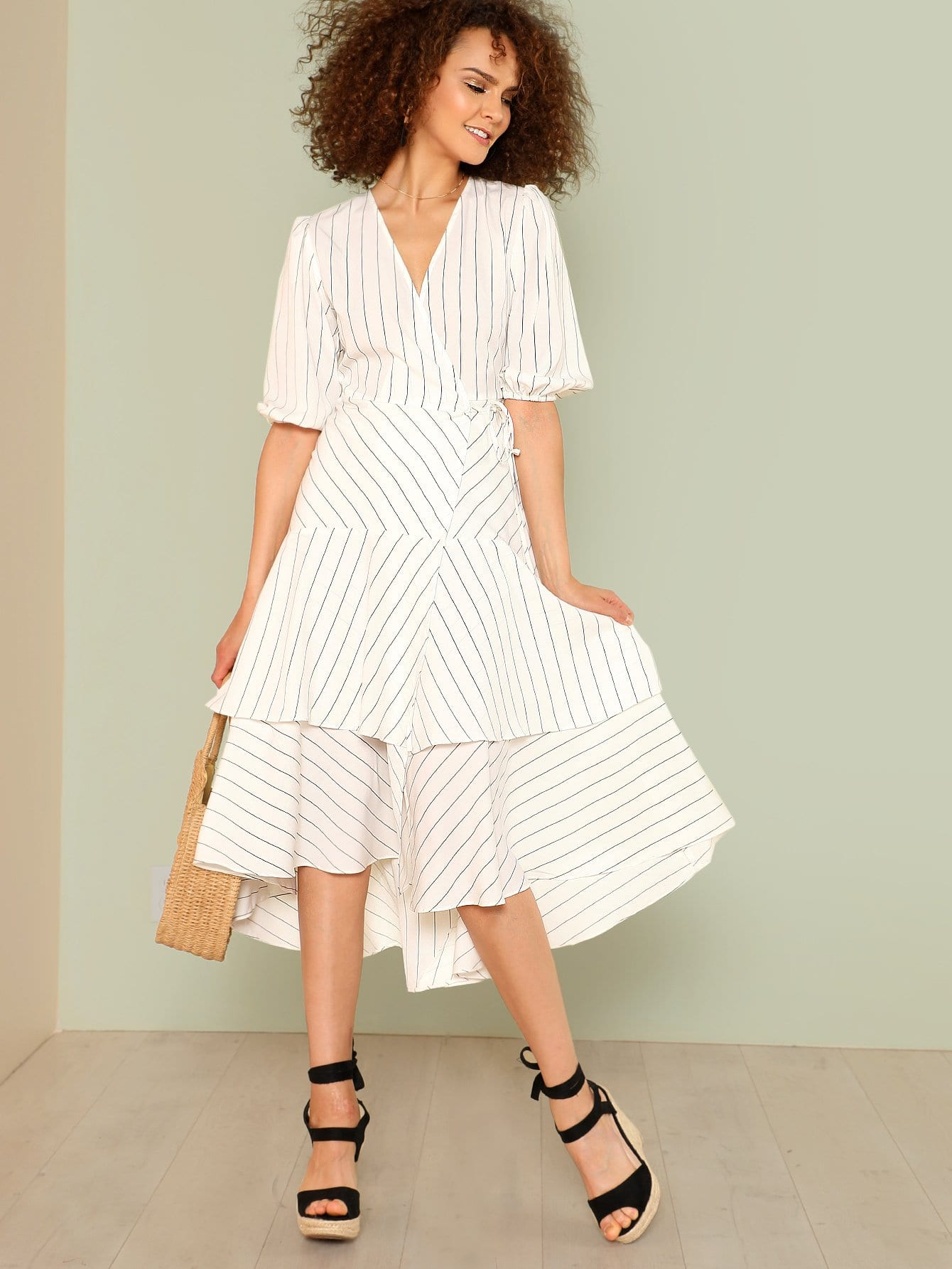 Lantern Sleeve Layered Pinstripe Wrap Dress pearl detail layered frill sleeve top