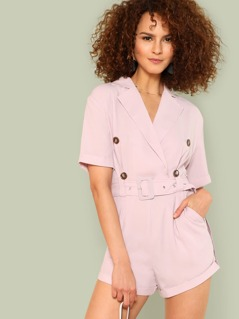 Buckle Belt Detail Double Breasted Romper