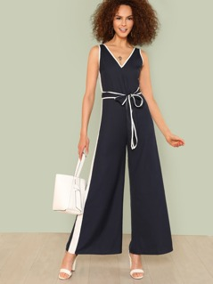 Contrast Binding Belted Palazzo Jumpsuit