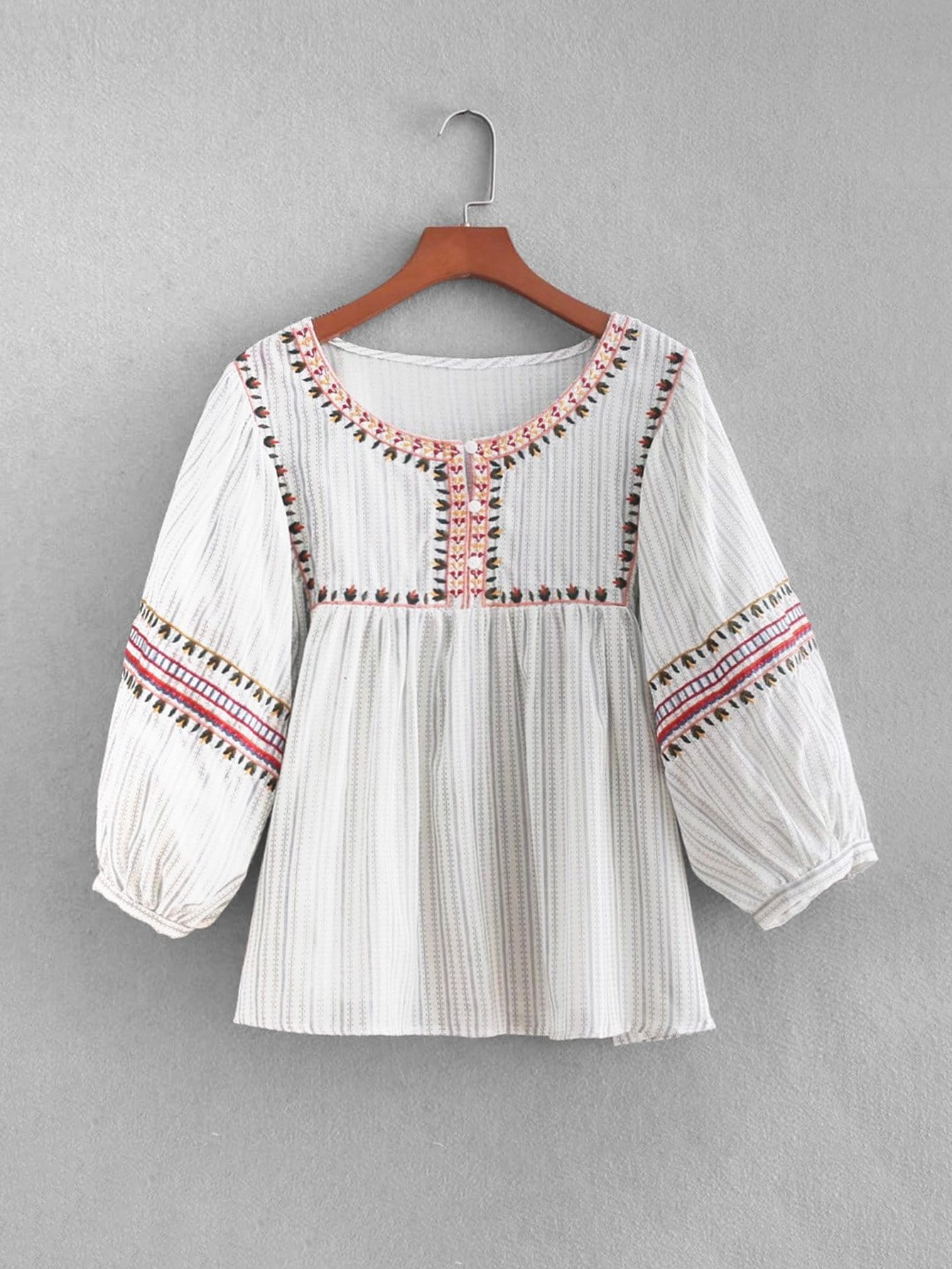 Embroidered Babydoll Blouse embroidered cap sleeve babydoll