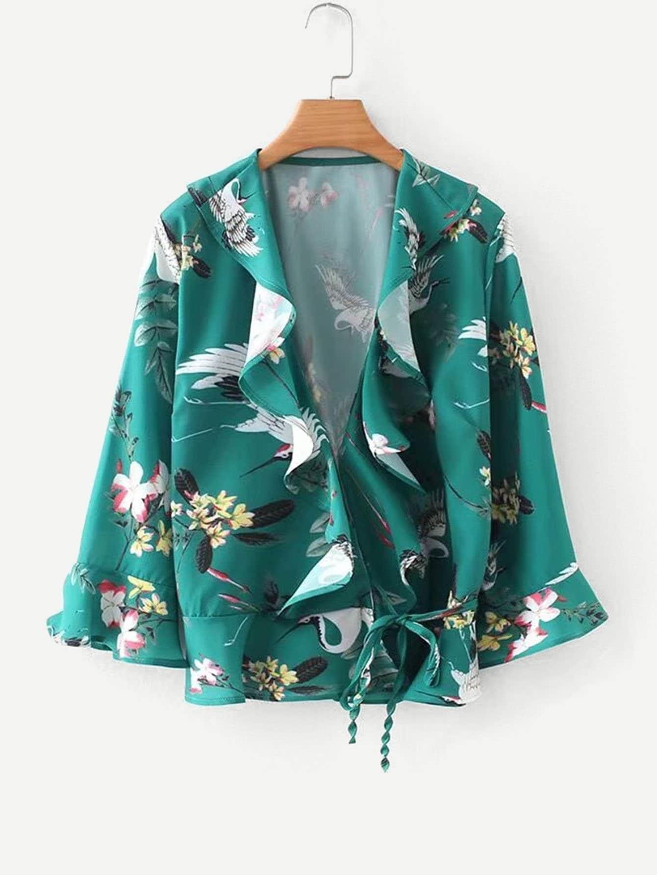 Gruidae Print Ruffle Trim Wrap Blouse ruffle trim floral print blouse