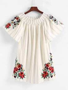 Shirred Bardot Embroidery Dress