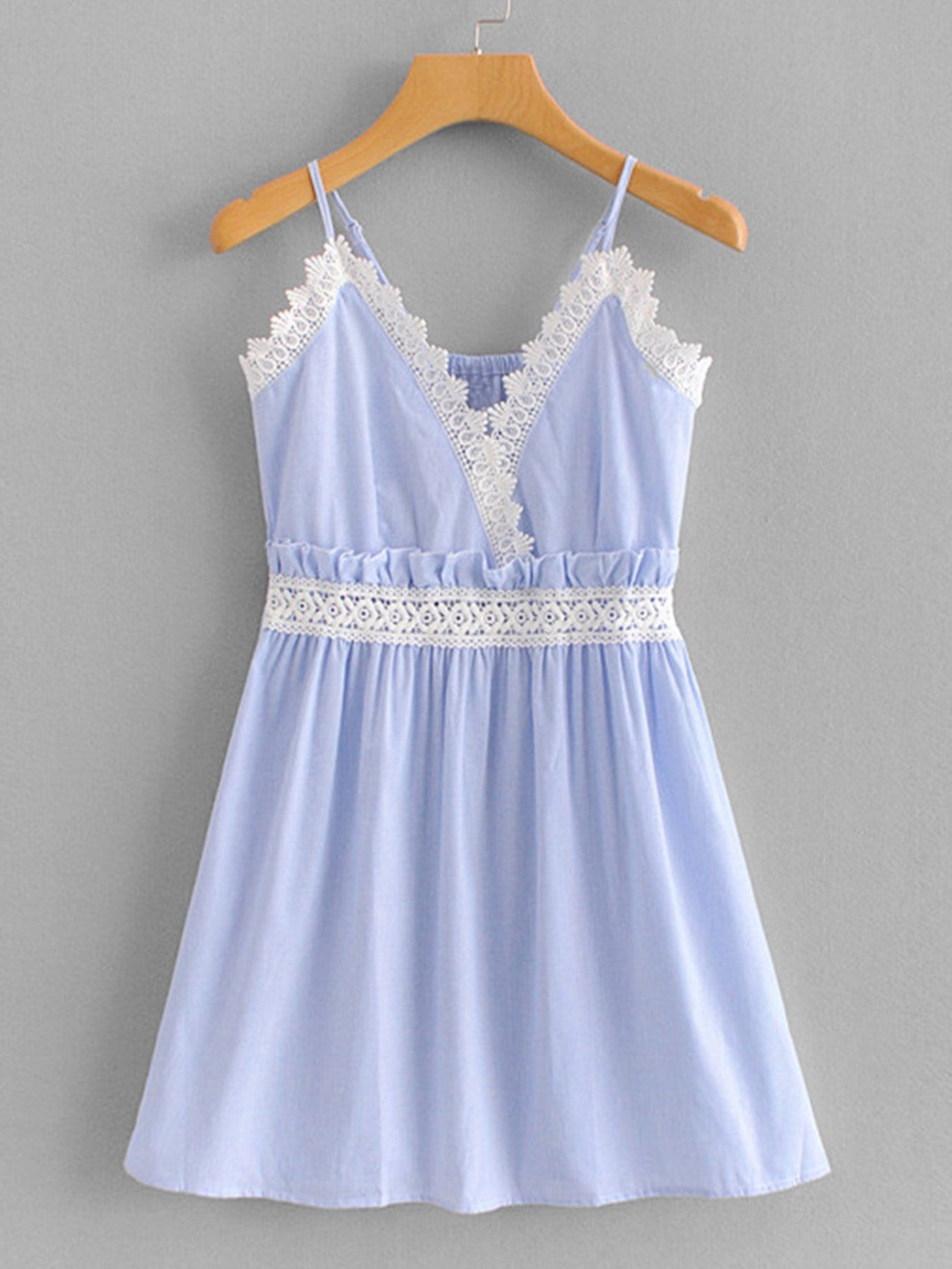 Contrast Lace Frill Trim Cami Dress