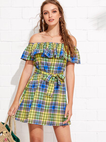 Flounce Layer Neckline Madras Plaid Belted Dress