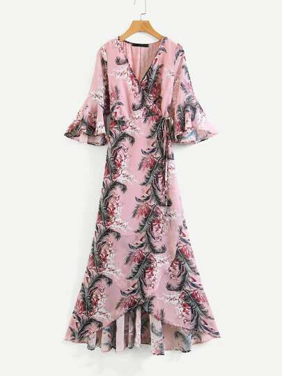 Botanical Print Ruffle Trim Wrap Dress