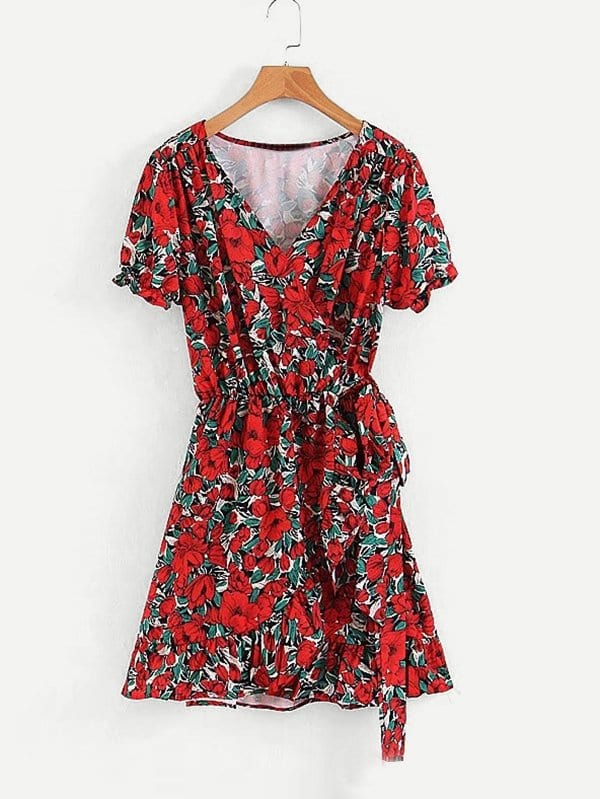 All Over Florals Ruffle Hem Wrap Dress all over florals ruffle hem top