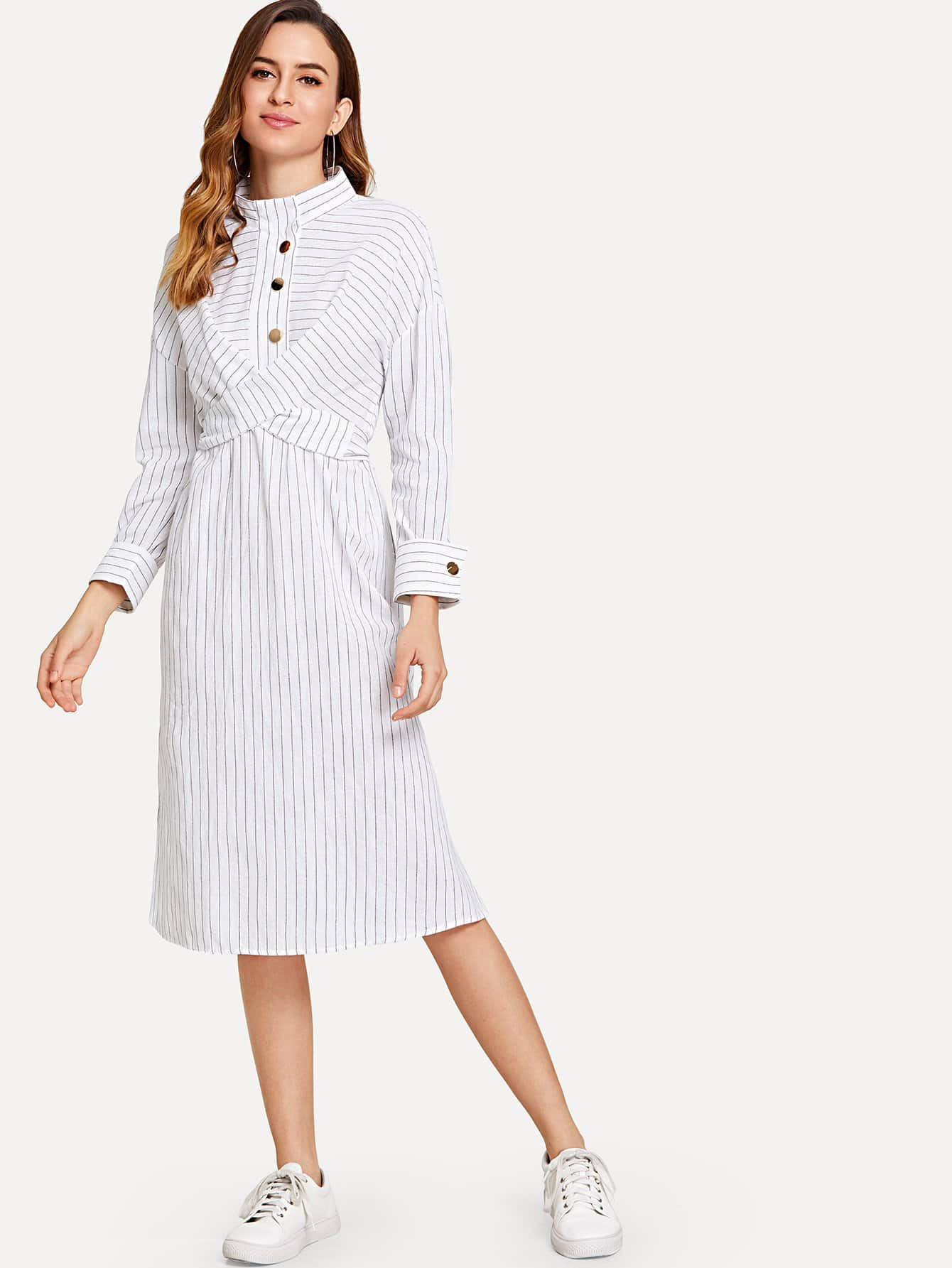 Cross Detail Tie Back Pinstriped Shirt Dress pinstriped open shoulder tie detail embroidery blouse