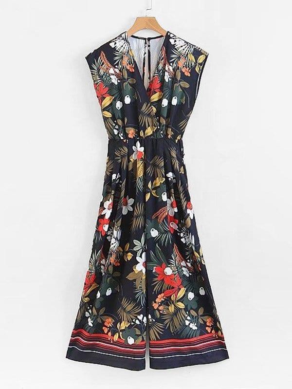 Foliage Print Surplice Neckline Wide Leg Jumpsuit halter surplice floral print jumpsuit