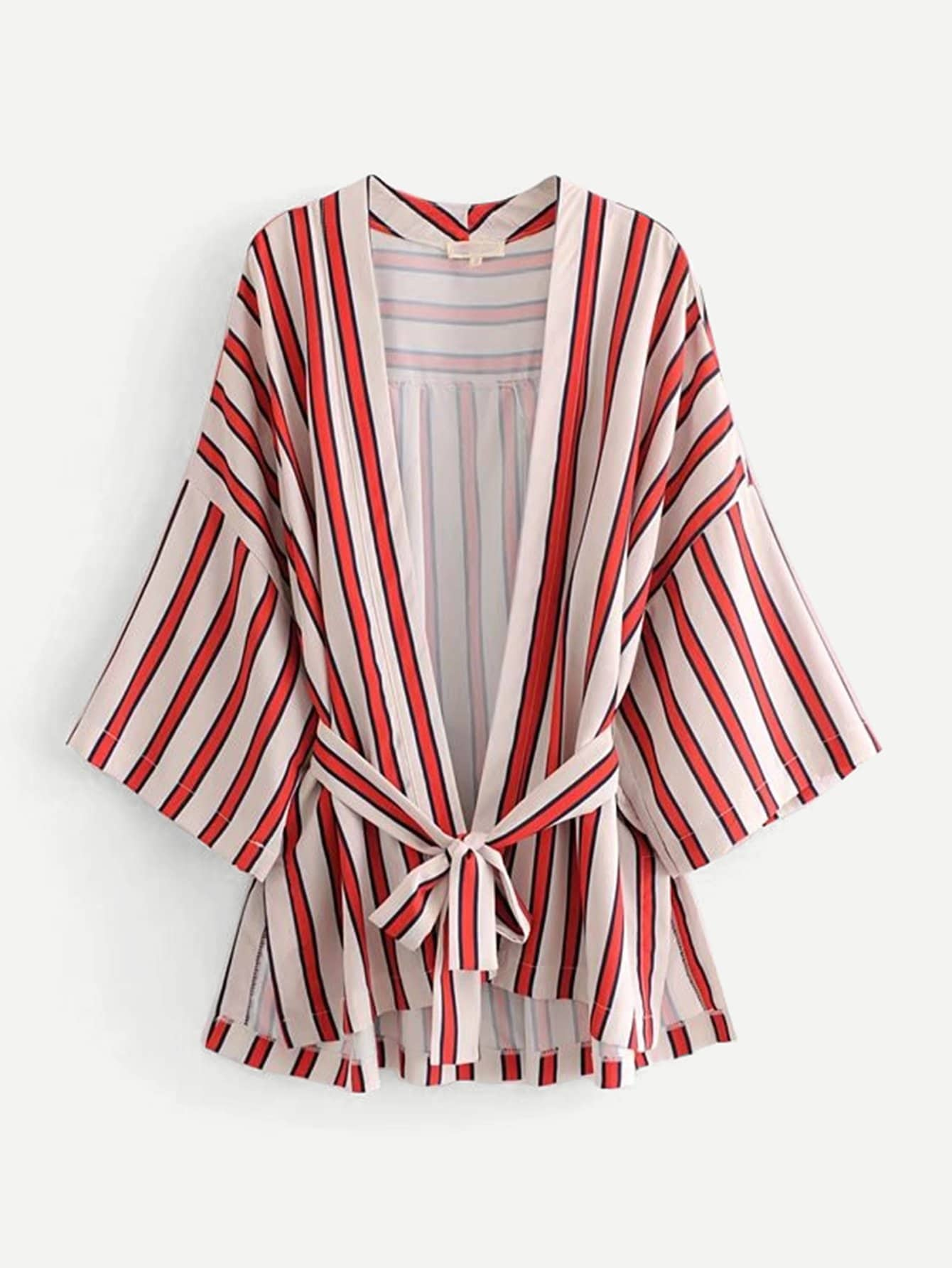 Block Striped Drop Shoulder Slit Side Kimono slit side asymmetrical hem embroidery mesh kimono