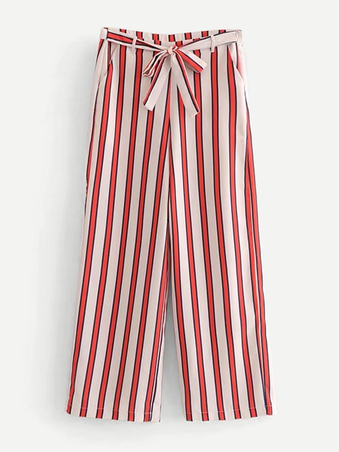 Block Striped Tie Detail Wide Leg Pants bow tie side wide leg pants