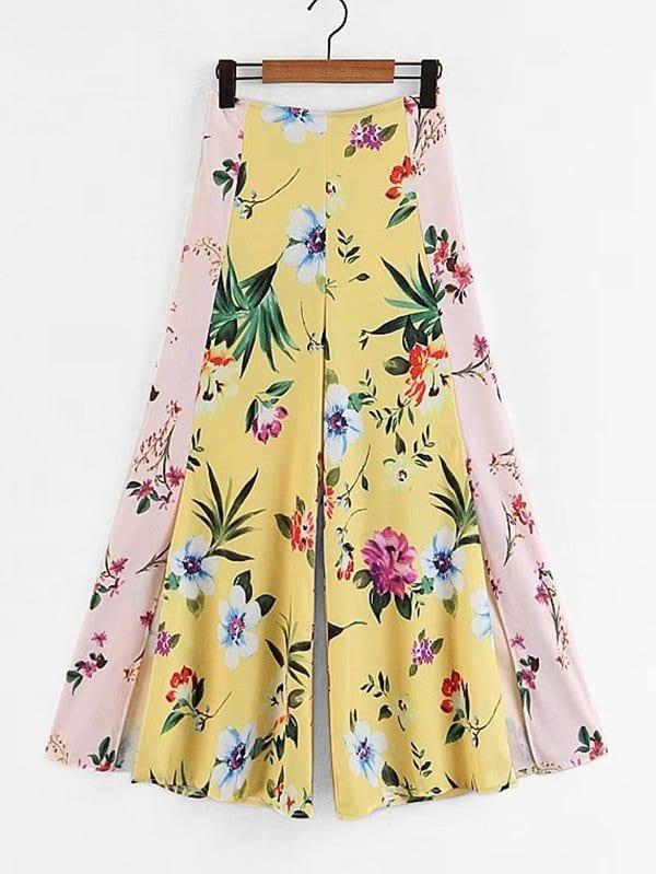 All Over Florals Slit Side Wide Leg Pants all over florals m slit dress