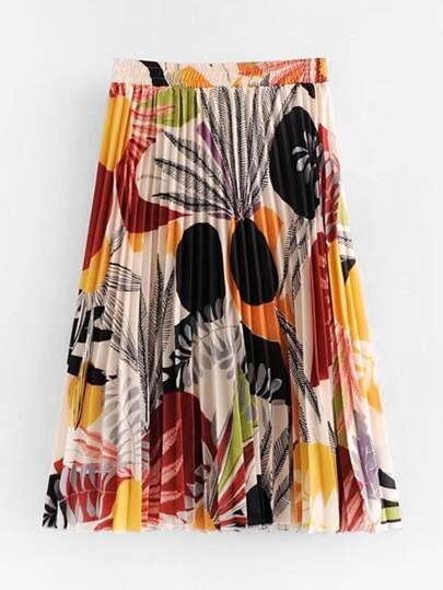 Jungle Print Pleated Skirt
