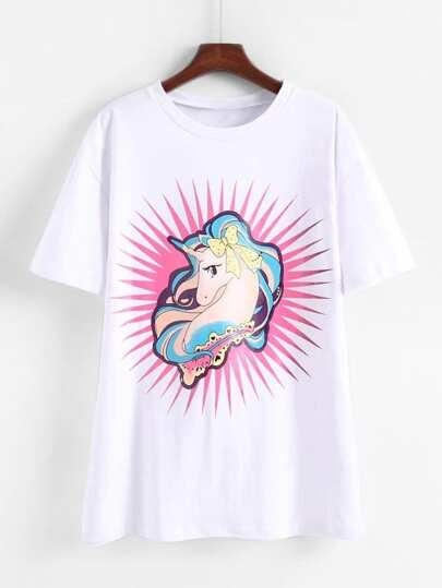 Cartoon Unicorn Print T-shirt