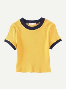Contrast Trim Ribbed Tee SHEIN