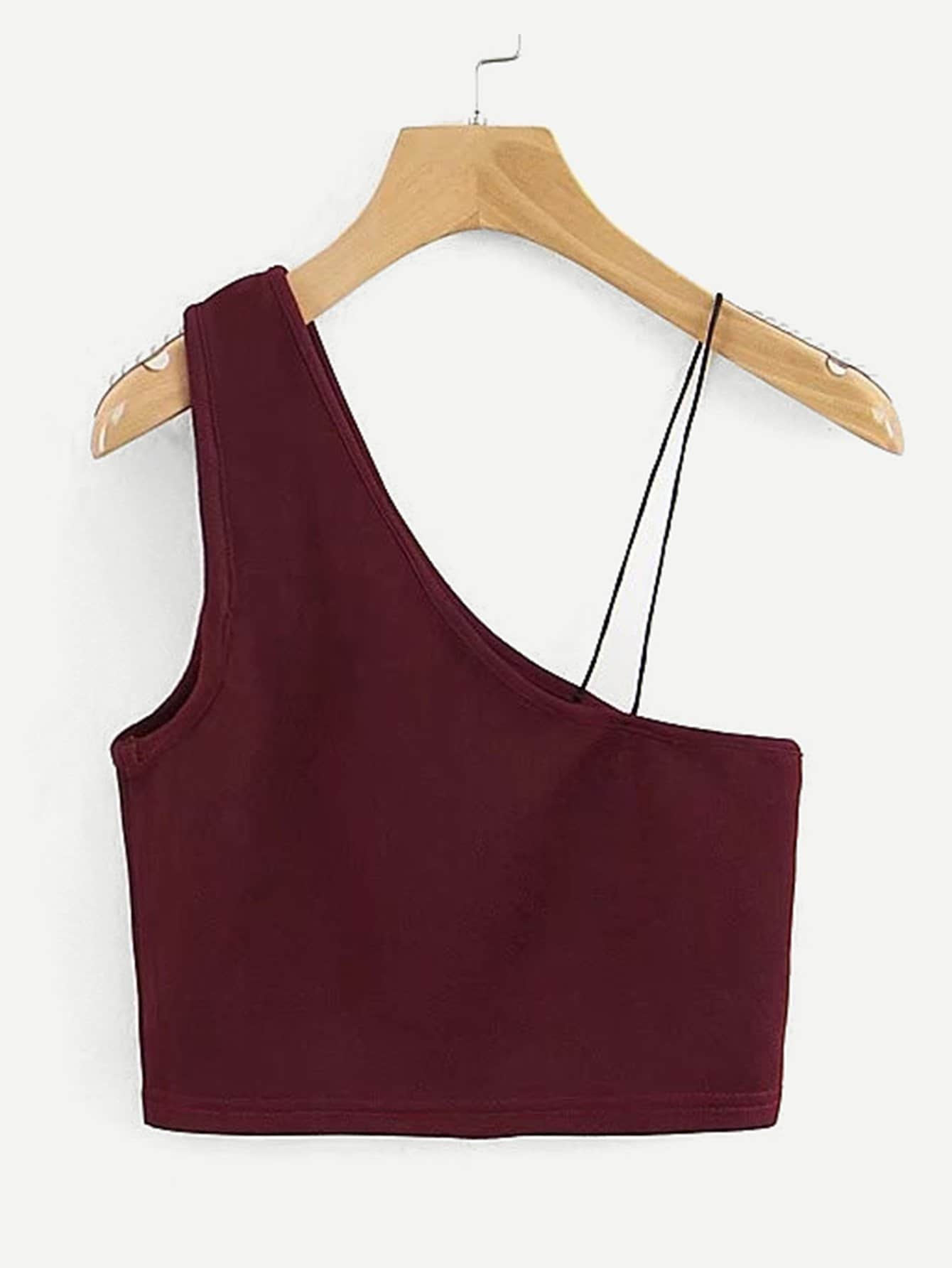 Oblique Shoulder Crop Top oblique shoulder layered frill ditsy top