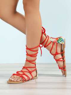 Tropical Print Lace Up Gladiator Sandal