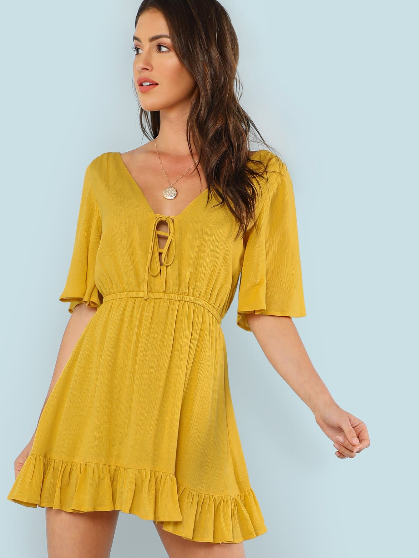 Купить Платье c v-образным воротником с оборками и веревочкой, Gigi Paris, SheIn