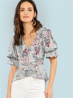 Mixed Print Ruffle Trim High Low Shirt