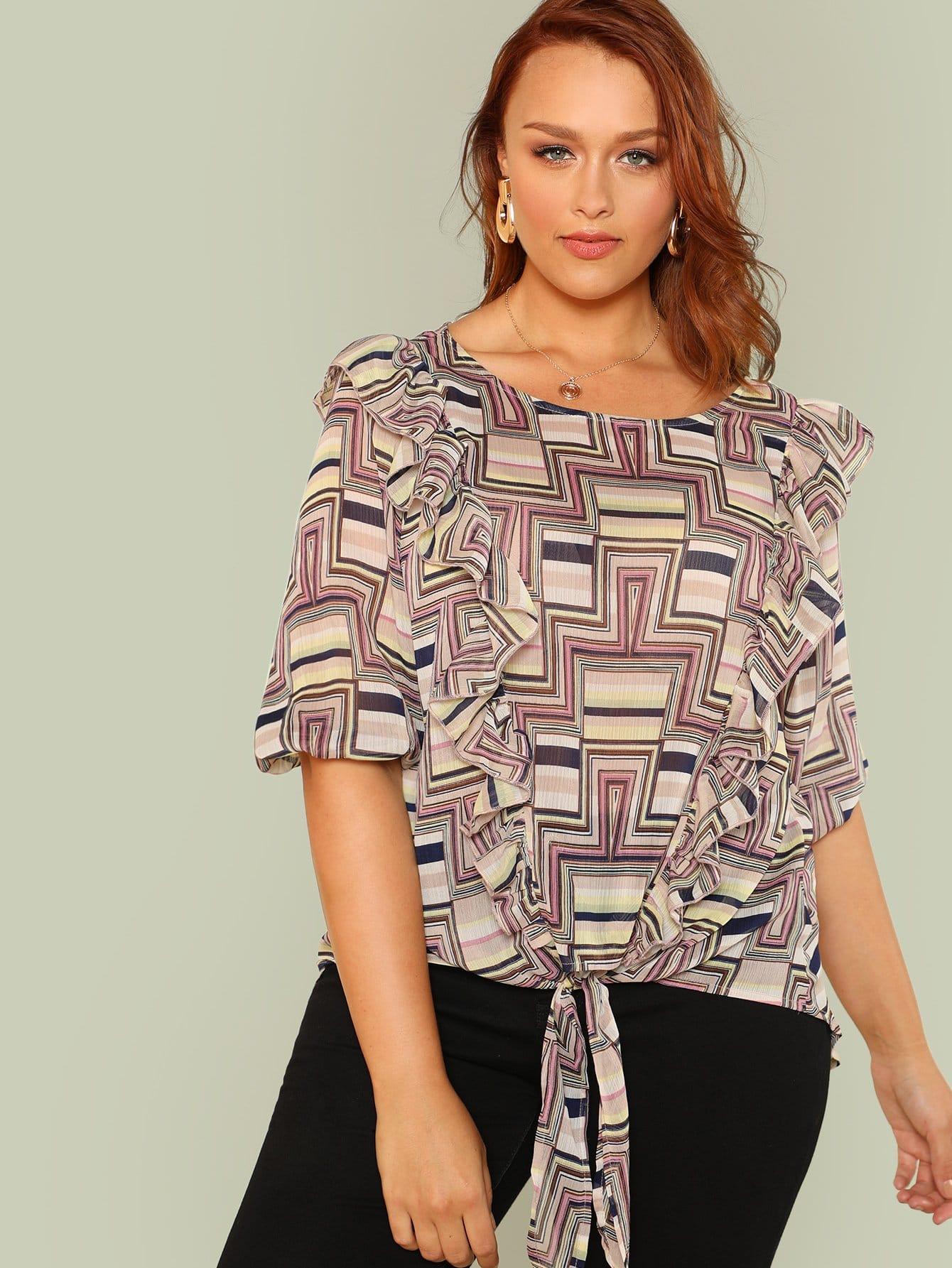 Купить Блузка с геометрическим принтом, Hannah Mavestrand, SheIn