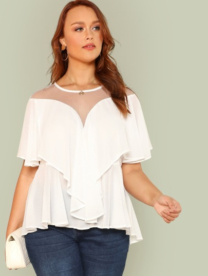 Mesh Insert Ruffle Trim Top