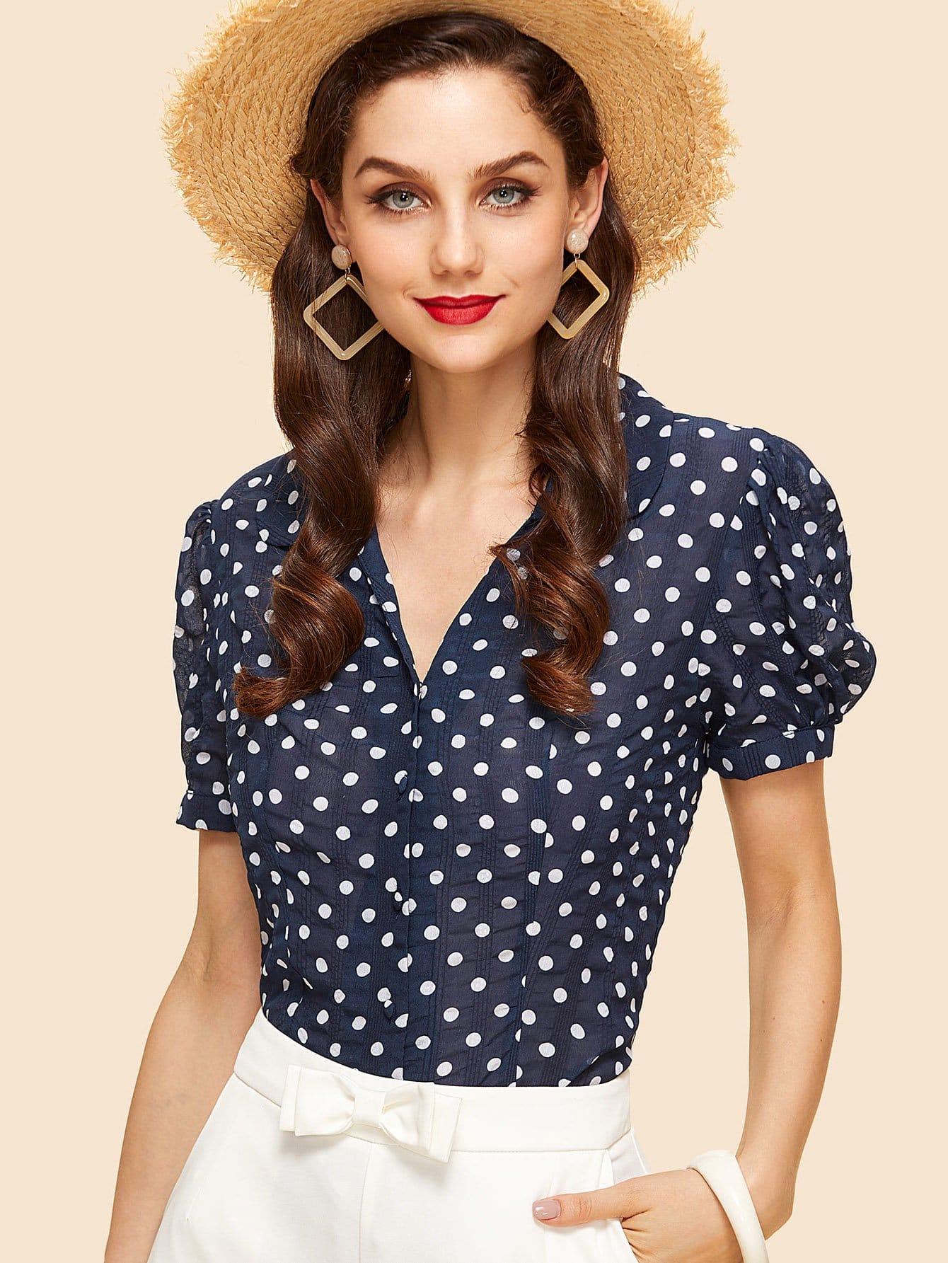 Купить Блузка в горошек с широкими рукавами, Julie H., SheIn