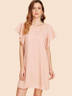 Ruffle Raglan Sleeve Solid Dress
