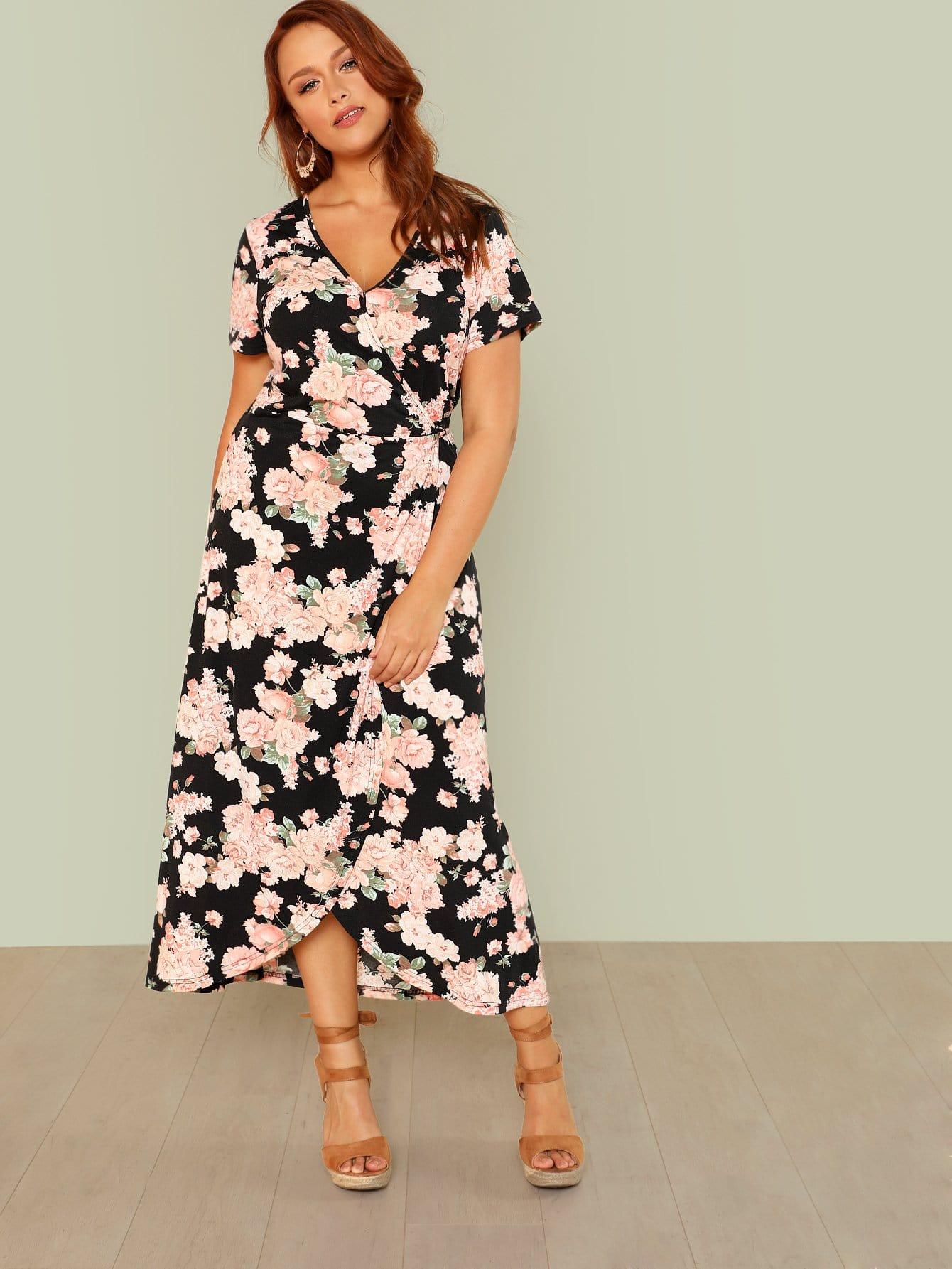 Купить Цветочное платье с запахом, Hannah Mavestrand, SheIn