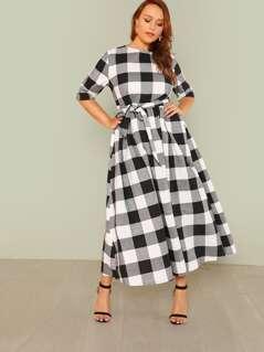 Self Belted Gingham Dress