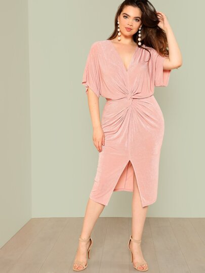 Twist Front Slit Batwing Dress