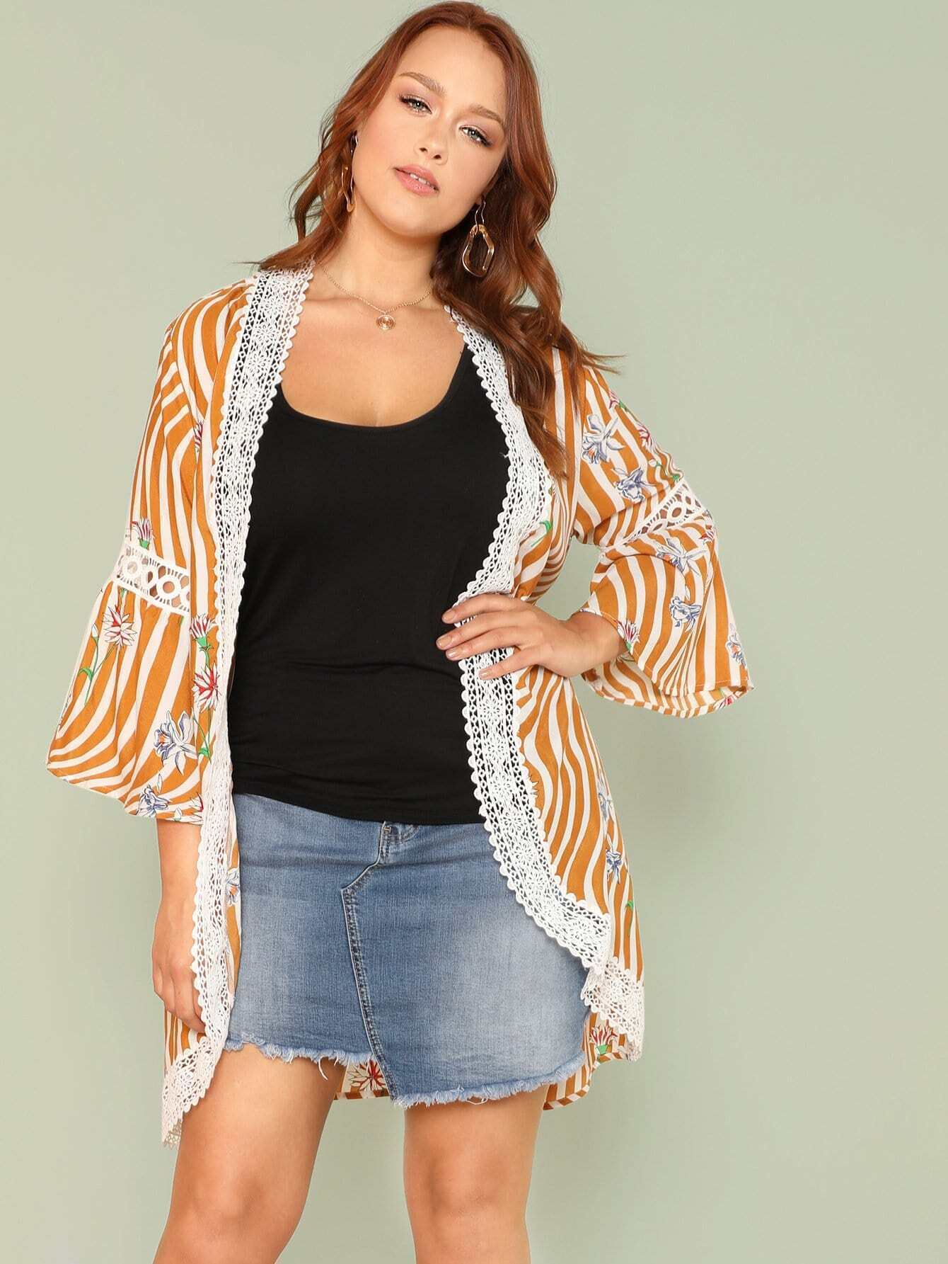 Mixed Print Lace Insert Longline Kimono two tone mixed print longline shirt
