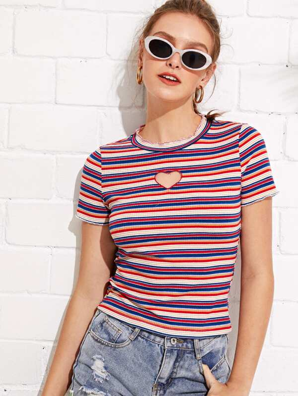 Heart Cut Front Striped Tee by Shein