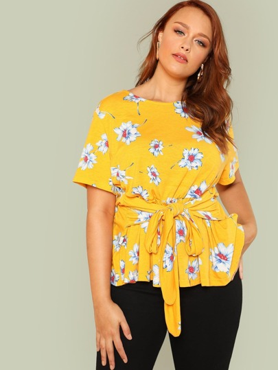 Self Belted Flower Print Tee