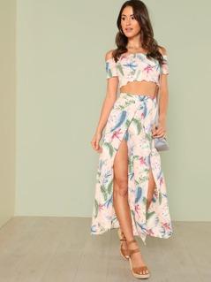 Frilled Trim Smock Top & Palm Leaf Print Overlap Skirt Set