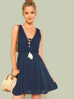 Lace Up Tassel Plunging Dress